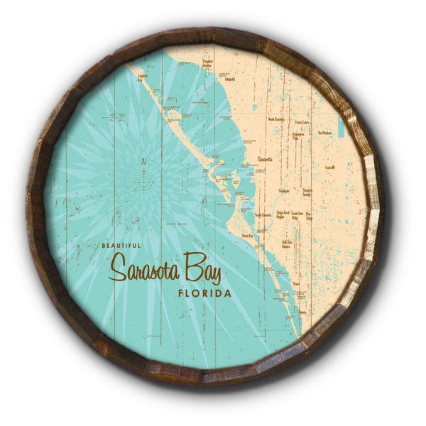 Sarasota Bay Florida, Rustic Barrel End Map Art