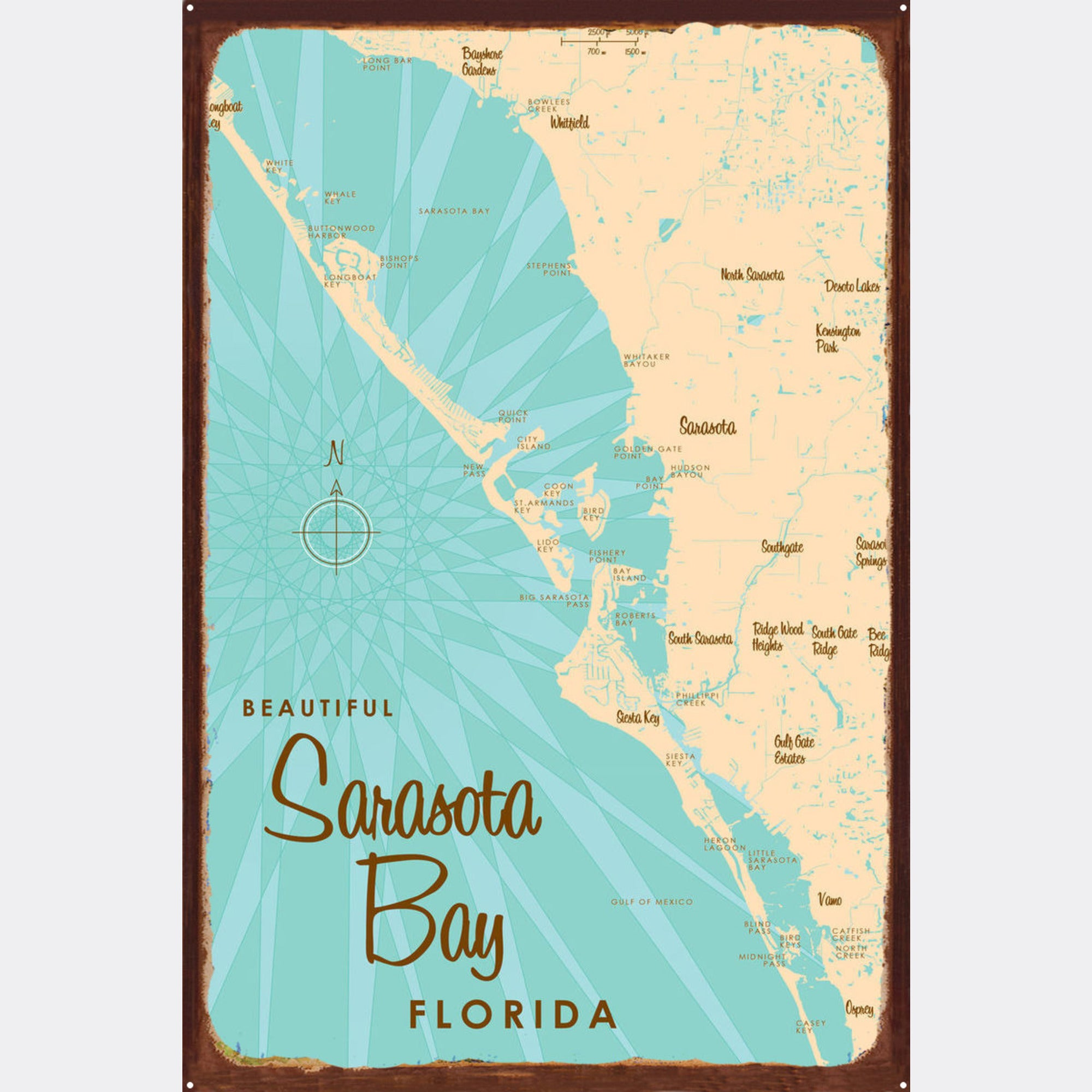 Sarasota Bay Florida, Rustic Metal Sign Map Art on mapquest maps sarasota, weather sarasota, google earth map usa fl, craigslist sarasota, google earth florida,