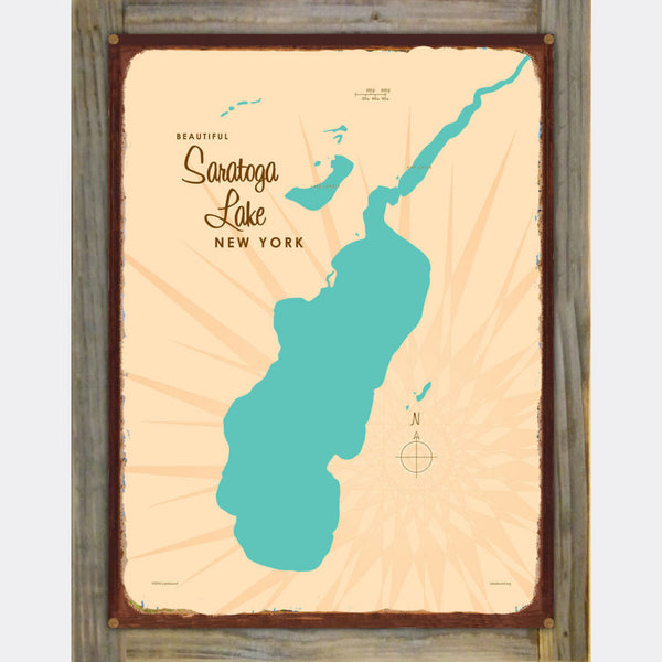 Saratoga Lake New York, Wood-Mounted Rustic Metal Sign Map Art