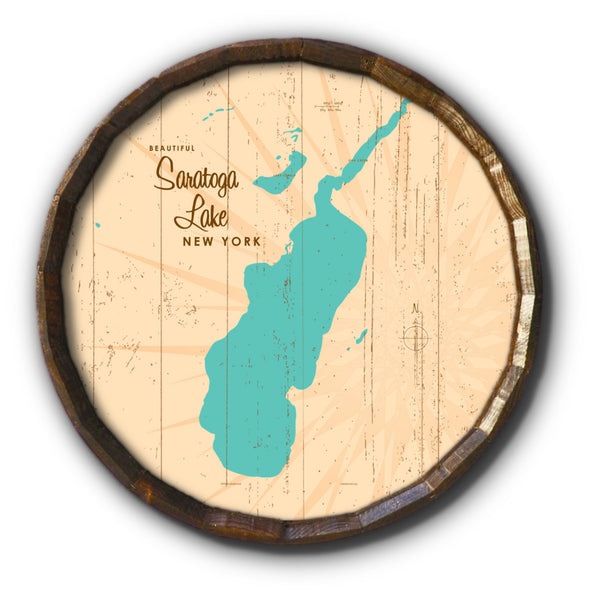Saratoga Lake New York, Rustic Barrel End Map Art