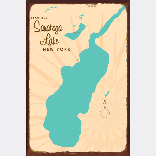 Saratoga Lake New York, Rustic Metal Sign Map Art