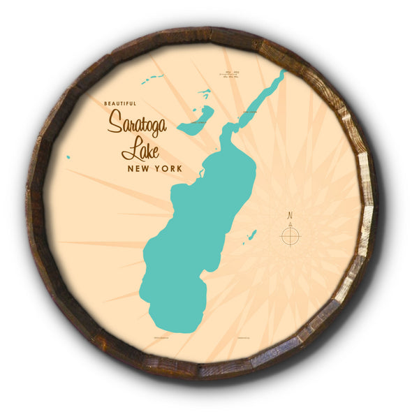 Saratoga Lake New York, Barrel End Map Art