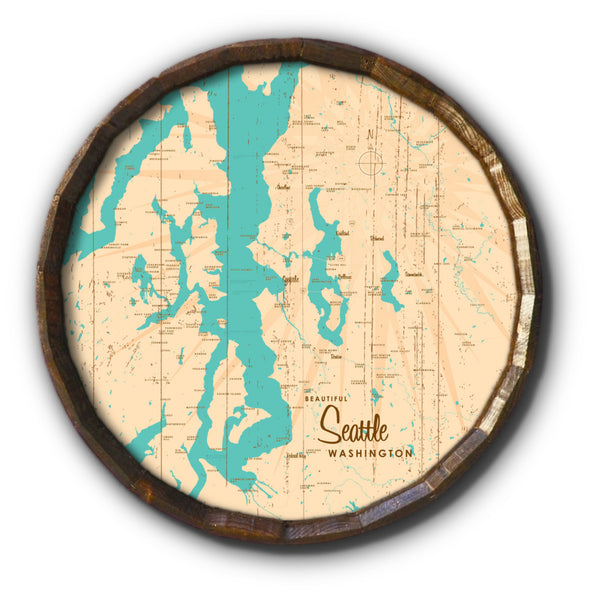 Seattle Washington, Rustic Barrel End Map Art