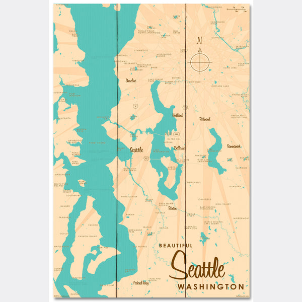 Seattle Washington, Wood Sign Map Art