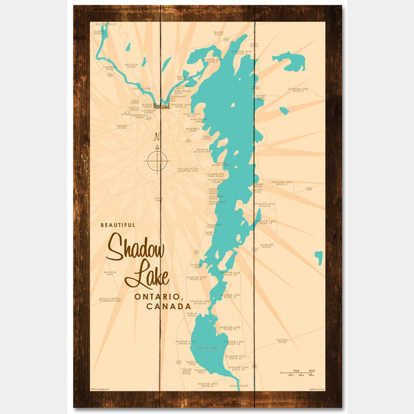 Shadow Lake Ontario, Rustic Wood Sign Map Art