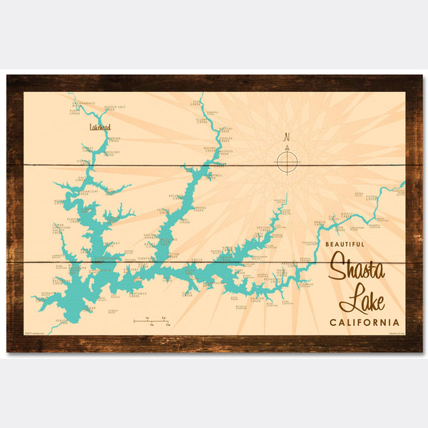 Shasta Lake California, Rustic Wood Sign Map Art