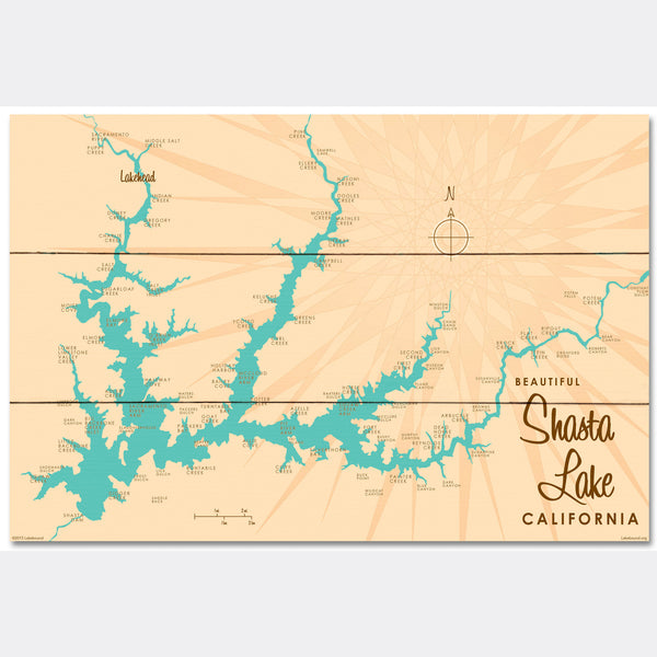 Shasta Lake California, Wood Sign Map Art