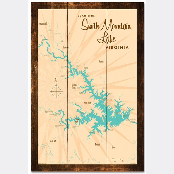 Smith Mountain Lake Virginia, Rustic Wood Sign Map Art