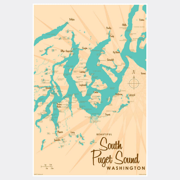 South Puget Sound Washington, Paper Print