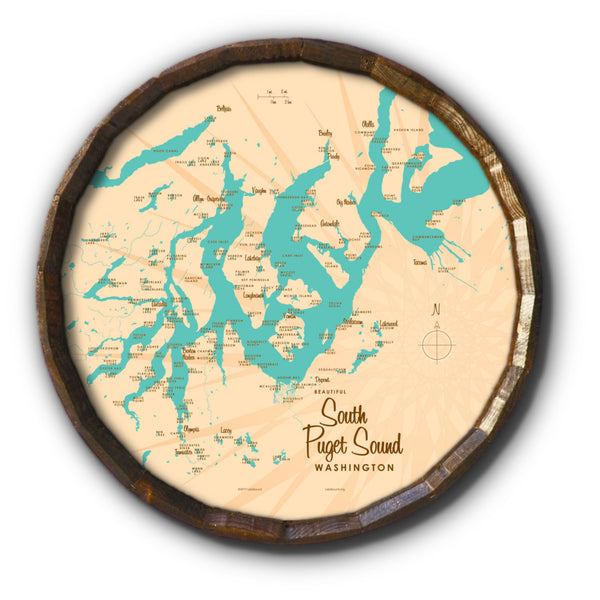 South Puget Sound Washington, Barrel End Map Art