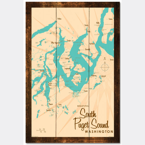 South Puget Sound Washington, Rustic Wood Sign Map Art