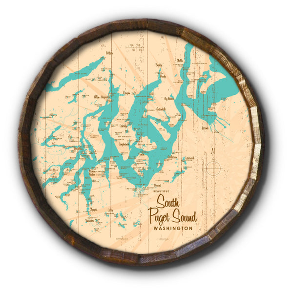 South Puget Sound Washington, Rustic Barrel End Map Art