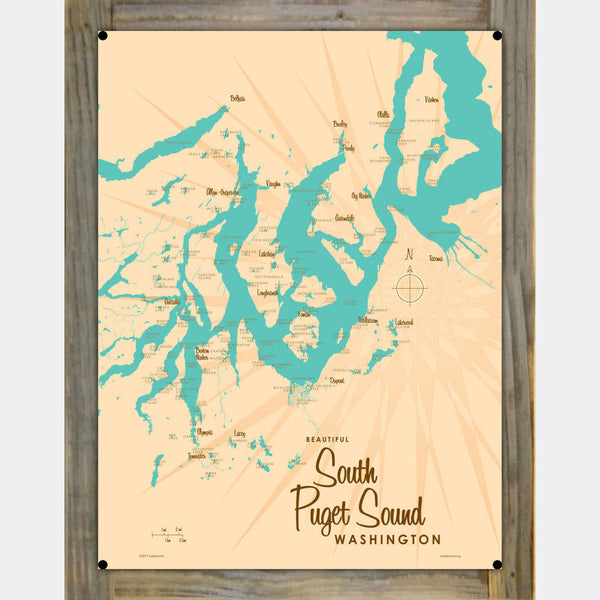 South Puget Sound Washington, Wood-Mounted Metal Sign Map Art