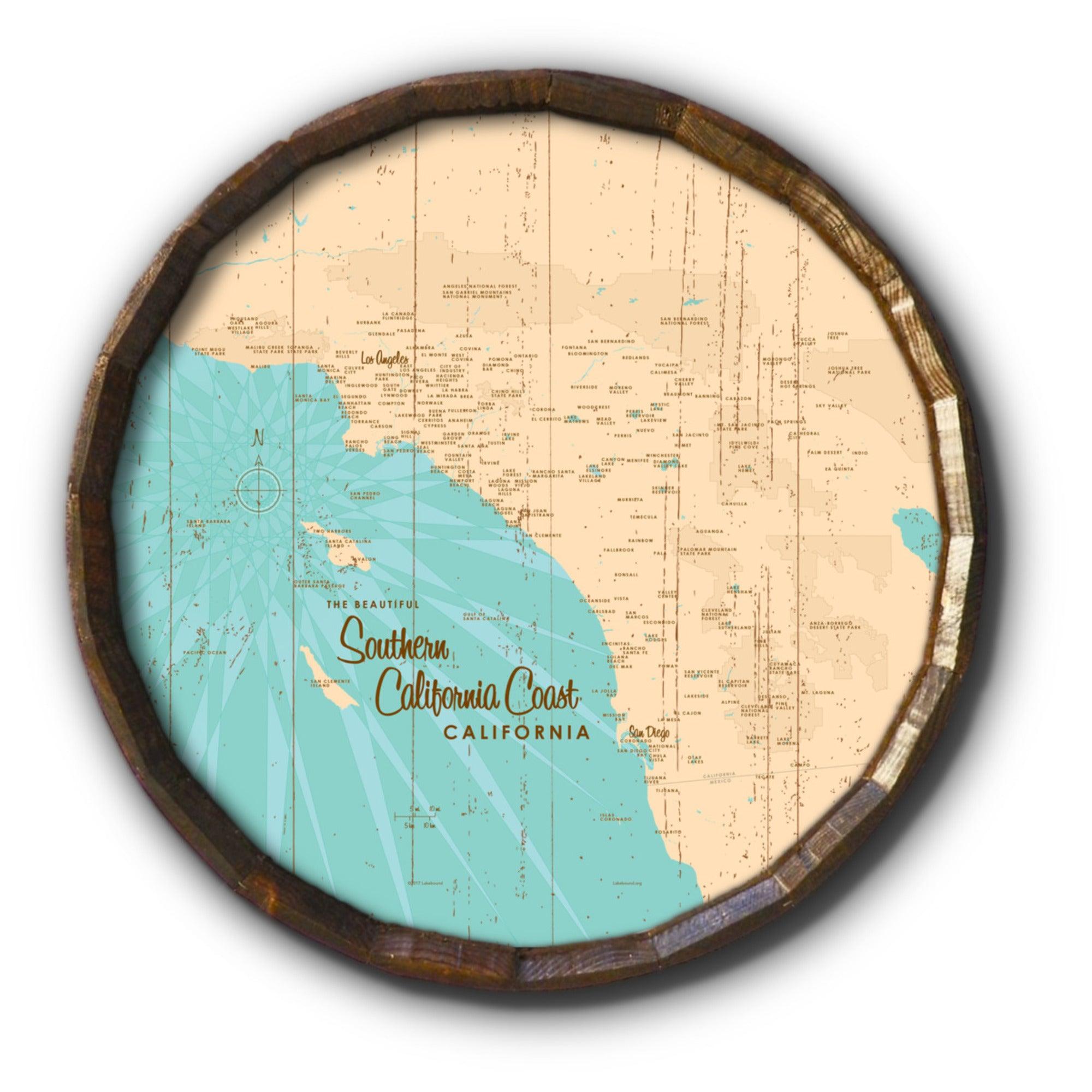 Southern CA Coast, Rustic Barrel End Map Art