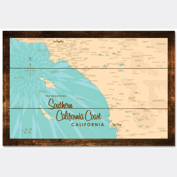 Southern CA Coast, Rustic Wood Sign Map Art