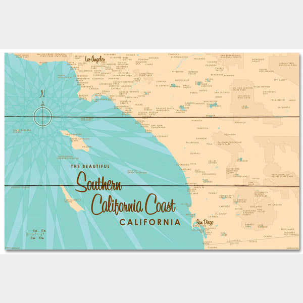 Southern CA Coast, Wood Sign Map Art