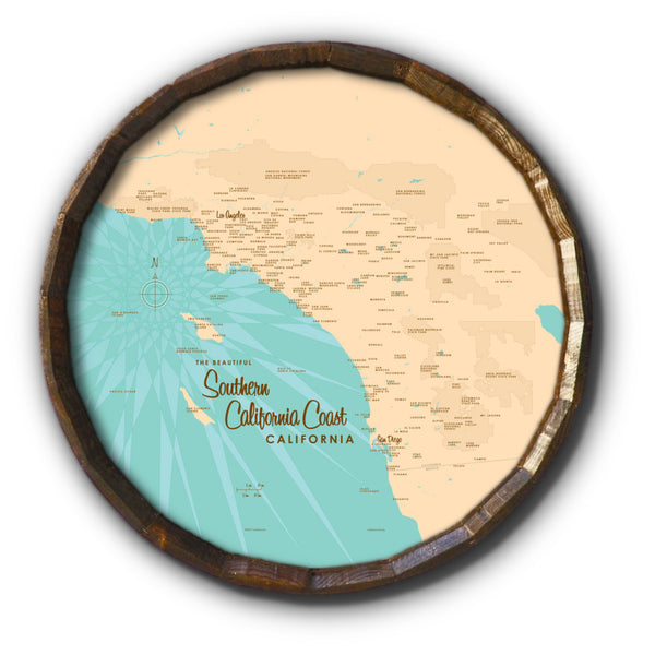 Southern CA Coast, Barrel End Map Art