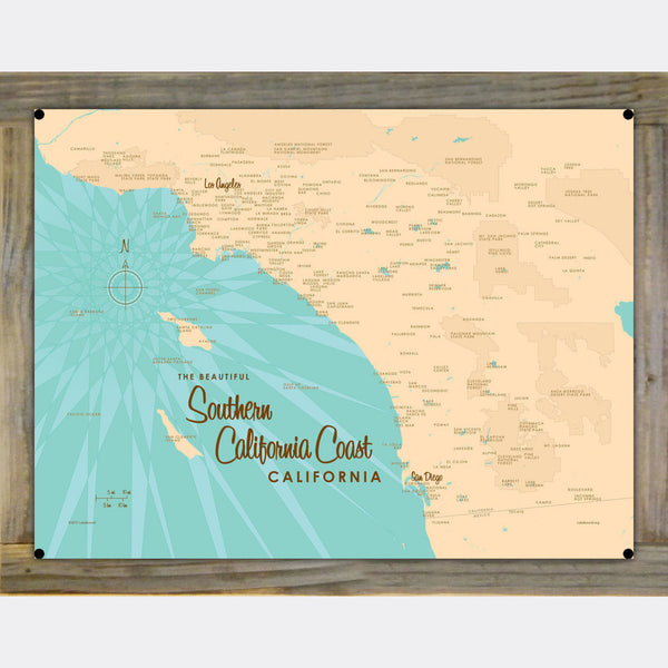 Southern CA Coast, Wood-Mounted Metal Sign Map Art
