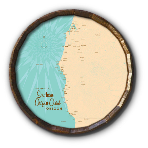 Southern Oregon Coast Oregon, Barrel End Map Art