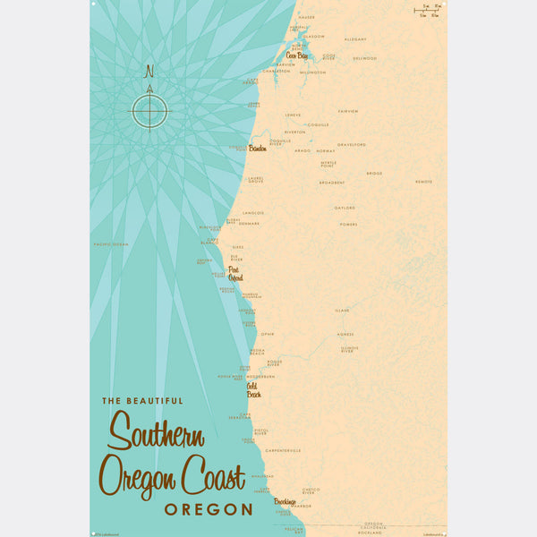 Southern Oregon Coast Oregon, Metal Sign Map Art
