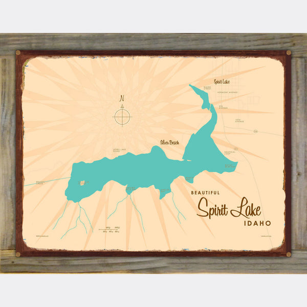 Spirit Lake Idaho, Wood-Mounted Rustic Metal Sign Map Art