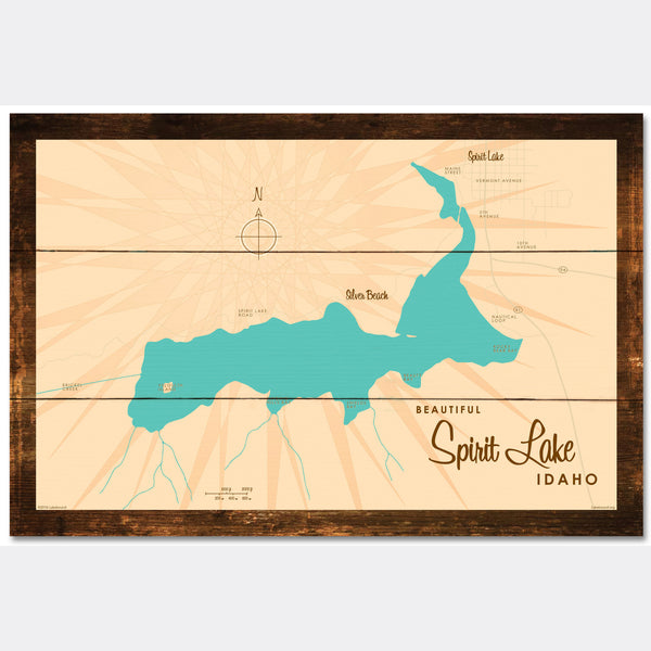 Spirit Lake Idaho, Rustic Wood Sign Map Art