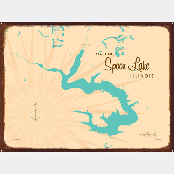 Spoon Lake Illinois, Rustic Metal Sign Map Art