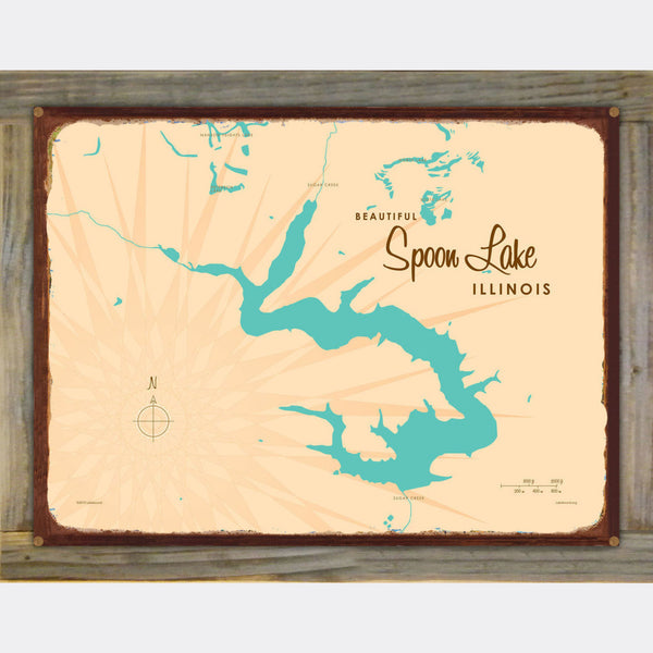 Spoon Lake Illinois, Wood-Mounted Rustic Metal Sign Map Art