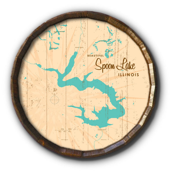 Spoon Lake Illinois, Rustic Barrel End Map Art