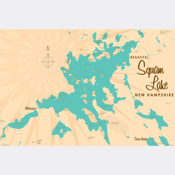 Squam Lake New Hampshire, Metal Sign Map Art