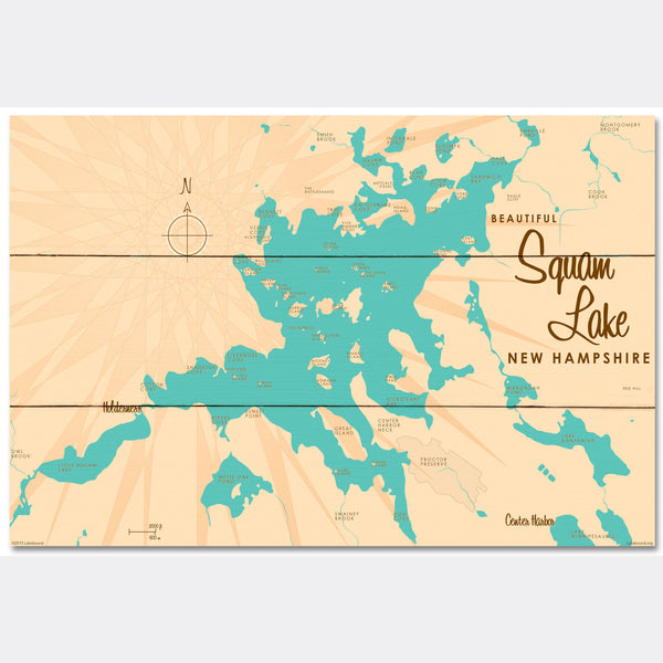 Squam Lake New Hampshire, Wood Sign Map Art