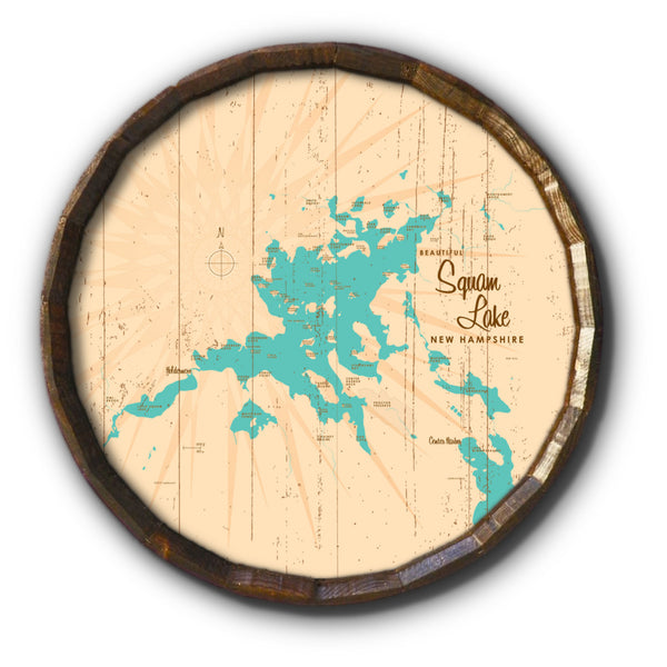 Squam Lake New Hampshire, Rustic Barrel End Map Art