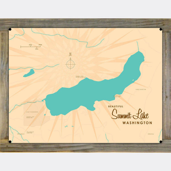Summit Lake Washington, Wood-Mounted Metal Sign Map Art