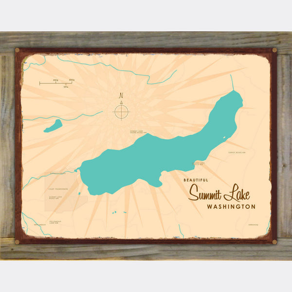 Summit Lake Washington, Wood-Mounted Rustic Metal Sign Map Art