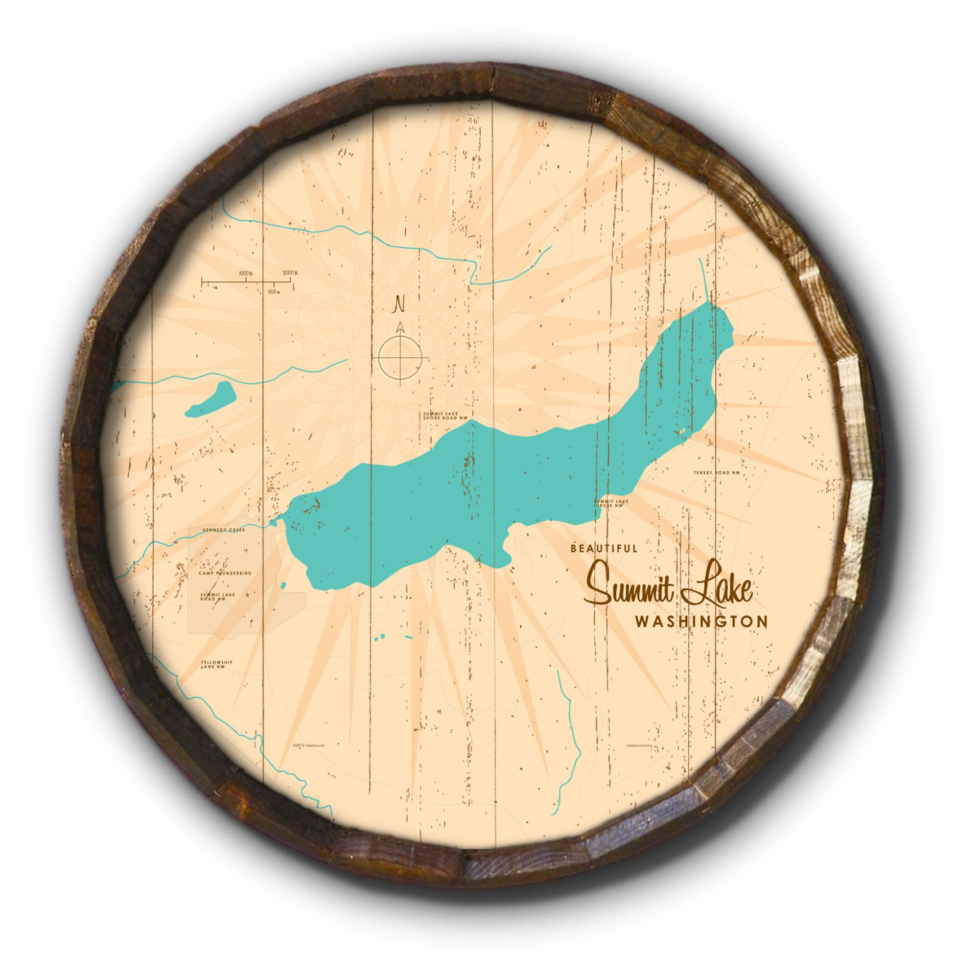 Summit Lake Washington, Rustic Barrel End Map Art