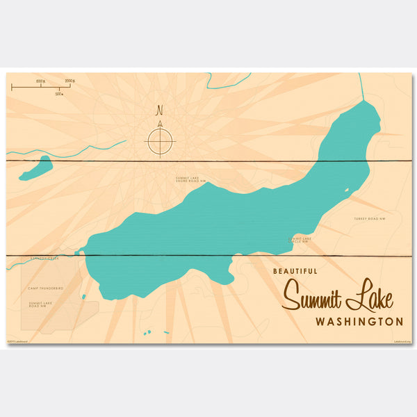 Summit Lake Washington, Wood Sign Map Art