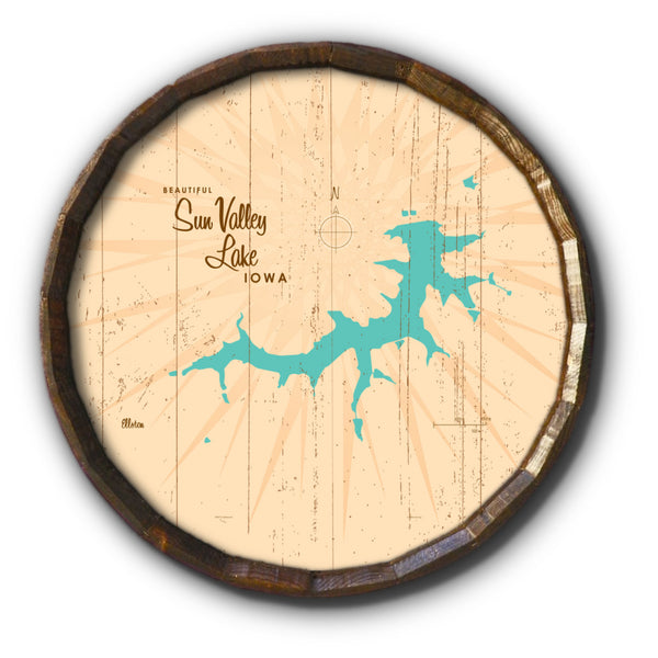 Sun Valley Lake Iowa, Rustic Barrel End Map Art