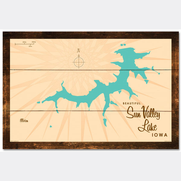 Sun Valley Lake Iowa, Rustic Wood Sign Map Art