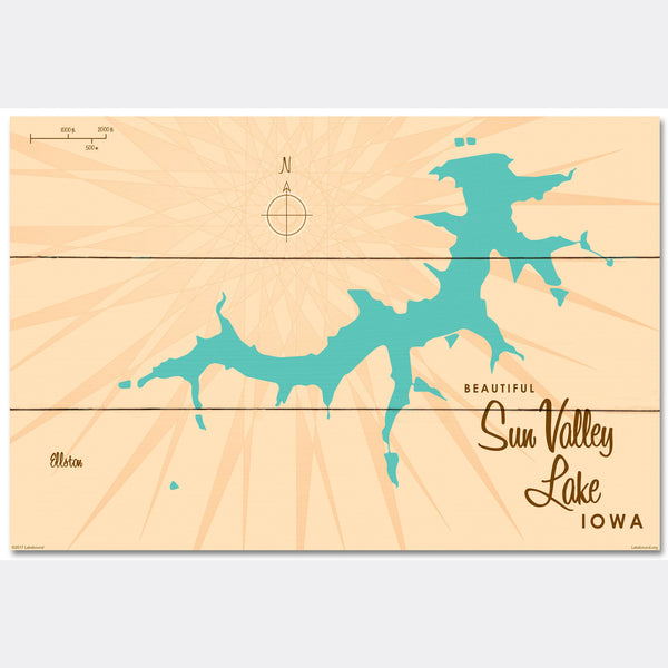 Sun Valley Lake Iowa, Wood Sign Map Art