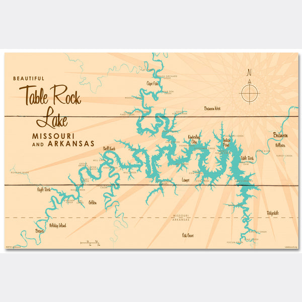 Table Rock Lake Missouri, Wood Sign Map Art