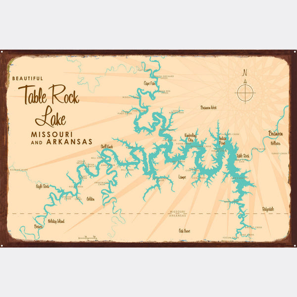 Table Rock Lake Missouri, Rustic Metal Sign Map Art