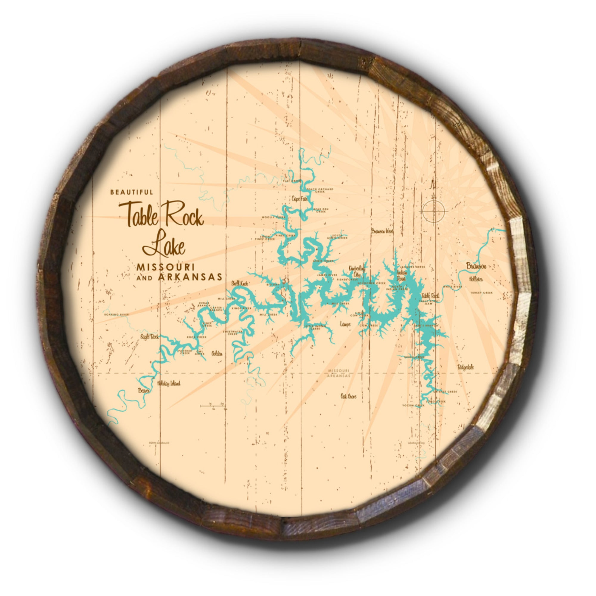 Table Rock Lake Missouri, Rustic Barrel End Map Art