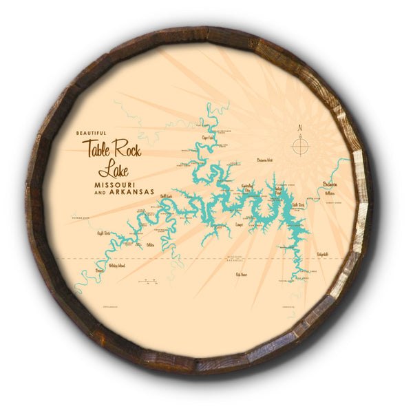 Table Rock Lake Missouri, Barrel End Map Art