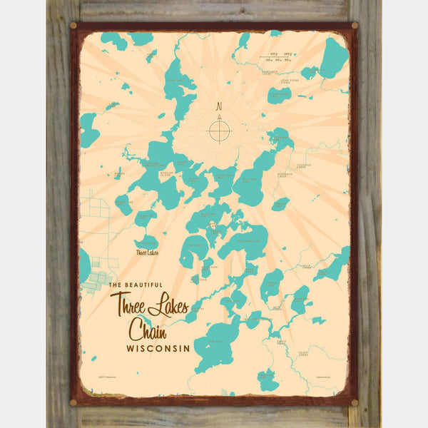 Three Lakes Chain Wisconsin, Wood-Mounted Rustic Metal Sign Map Art