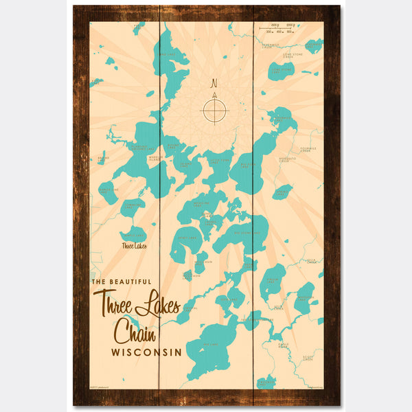 Three Lakes Chain Wisconsin, Rustic Wood Sign Map Art