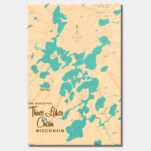 Three Lakes Chain Wisconsin, Canvas Print