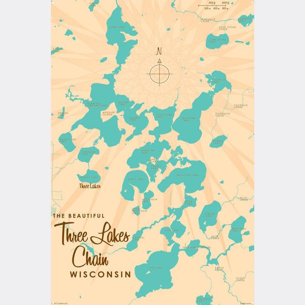 Three Lakes Chain Wisconsin, Metal Sign Map Art