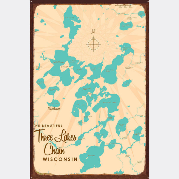 Three Lakes Chain Wisconsin, Rustic Metal Sign Map Art