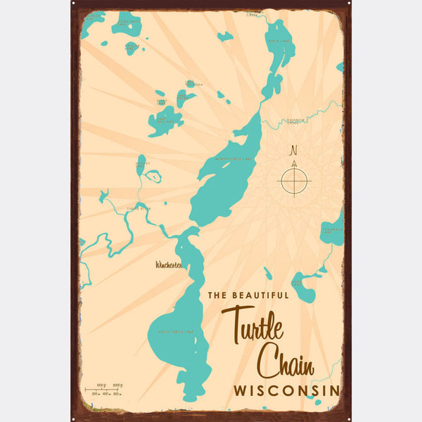 Turtle Chain Wisconsin, Rustic Metal Sign Map Art