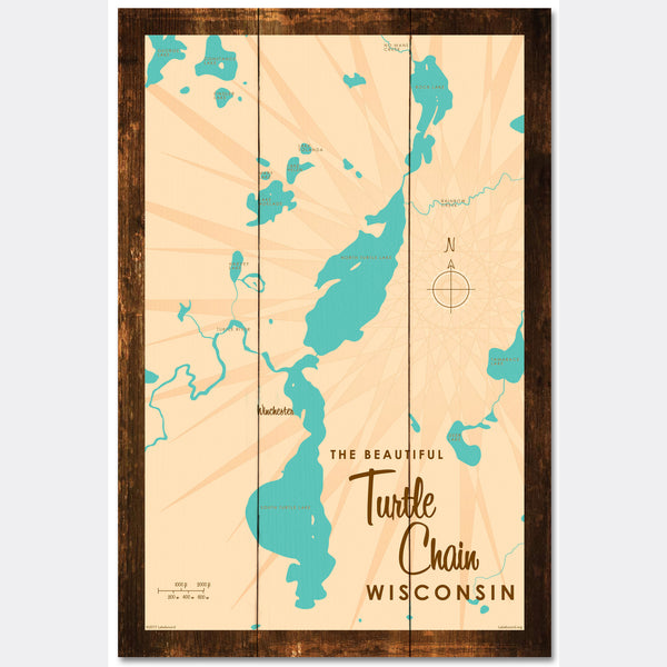 Turtle Chain Wisconsin, Rustic Wood Sign Map Art